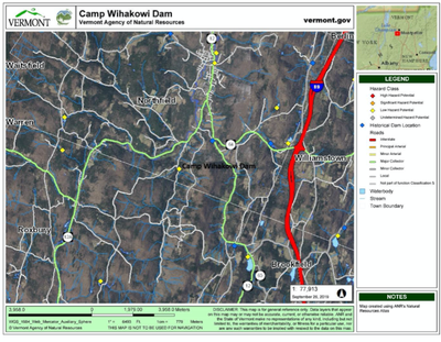 Site map for Camp Wihakowi dam removal project bull Run Northfield, VT
